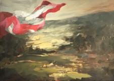 2016Landschaft mit der schweizer Fahne50x60