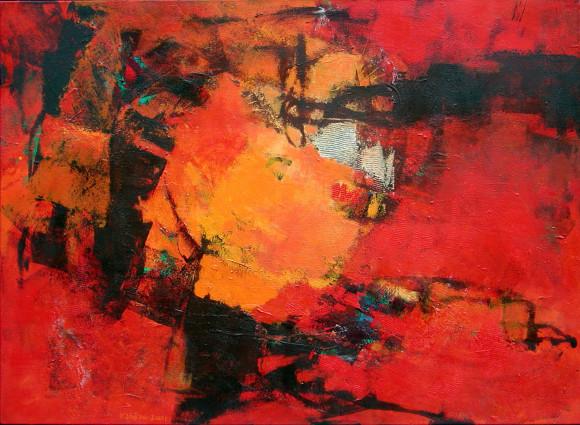 2001 Noir sur rouge110 x 150 cm